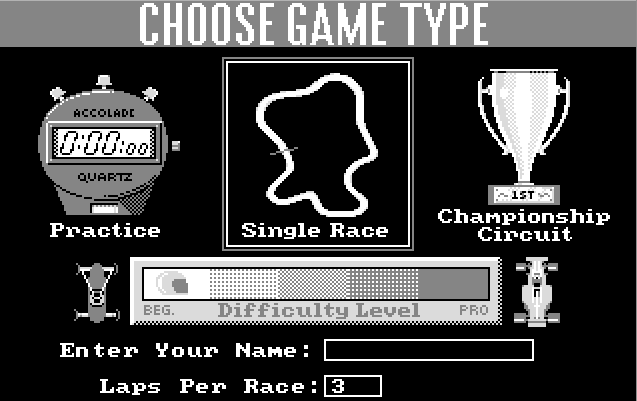 Grand Prix Circuit - главное меню